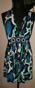 Snakeskin Print Halter Mini Dress